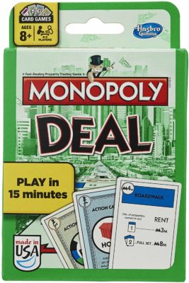 This is an image of a card game called Monopoly Deal by Hasbro Gaming.