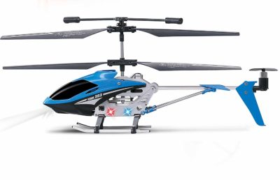 This is an image of a blue HAK303 rc helicopter by Haktoys.