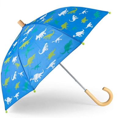 This is an image of a blue umbrella with dinosaur print for boys by Hatley.