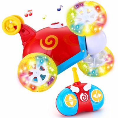 This is an image of a colorful rc car for toddlers.