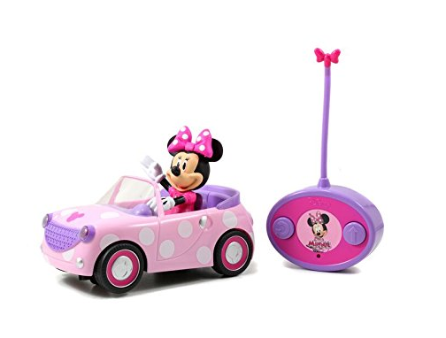 This is an image of a Minnie Mouse rc car with polka dots by Jada.