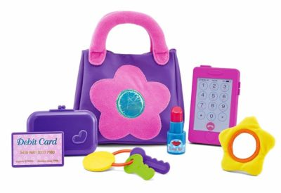 This is an image of a purple purse toy set.