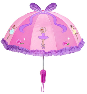 This is an image of a pink ballet dancers print umbrella for kids by Kidorable .