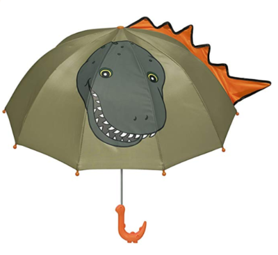 This is an image of a green dinosaur umbrella for kids by Kidorable.