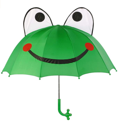 This is an image of a green frog kid's umbrella by Kidorable.