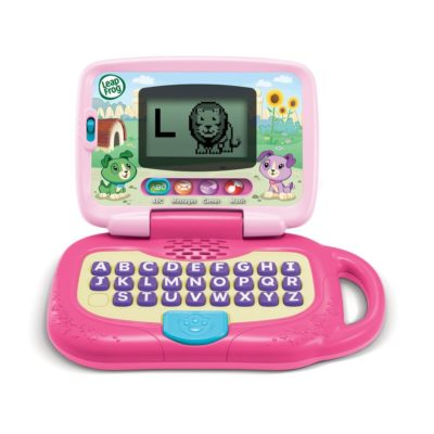 This is an image of a pink Leaptop toy by Leapfrog.