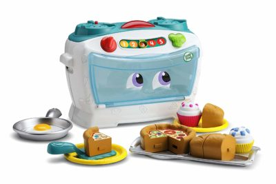 This is an image of a teal oven toy by LeapFrog.