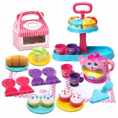 This is an image of a colorful sweet treat musical tea set for kids.