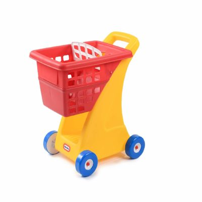 This is an image of a red and yellow shopping cart for kids by Little Tikes.
