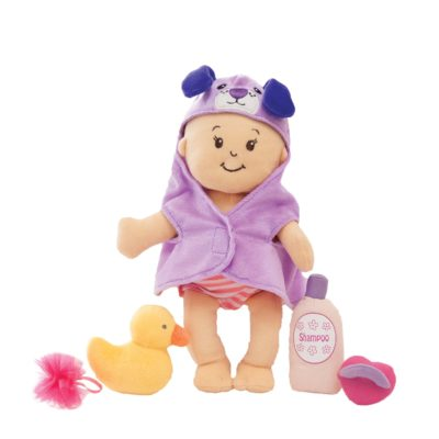 This is an image of a doll and bathing set.