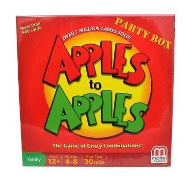 This is an image of a party game called Apples to Apples by Mattel Games.
