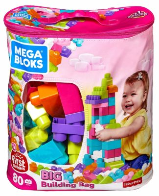 This is an image of a pink building bag with 80 pieces of blocks.