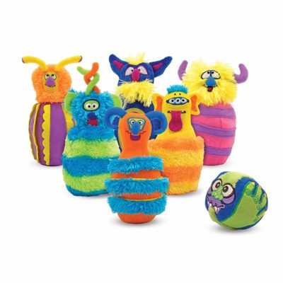 This is an image of a plush monster bowling game set.
