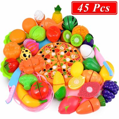 This is an image of some fruits and vegetables cutting toys.