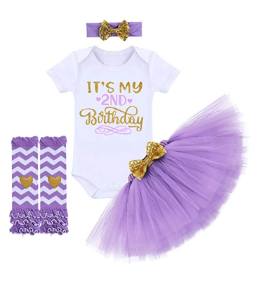 This is an image of a purple birthday dress set for 2 year old girls.
