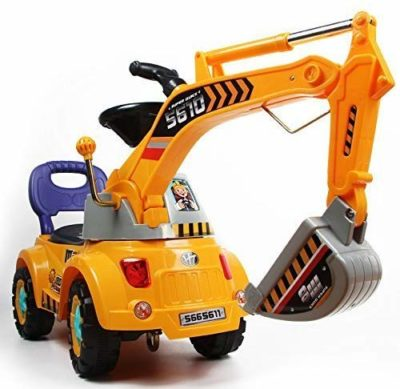 This is an image of a digger, scooter and pulling cart ride on toy by POCO DIVO.