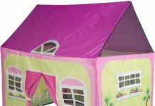 This is an image of a cottage play tent with garden graphics by Pacific Play Tents.