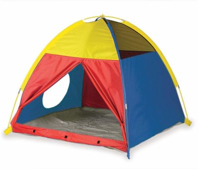 This is an image of a red, blue and yellow playhouse tent for kids by Pacific Play Tents.