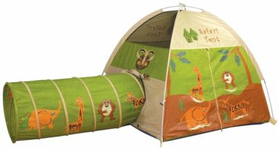 This is an image of a dome and tunnel playhouse tent with jungle graphics print by Pacific Play Tents.