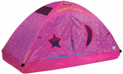 This is an image of a pink bed tent for kids by Pacific Play Tents.
