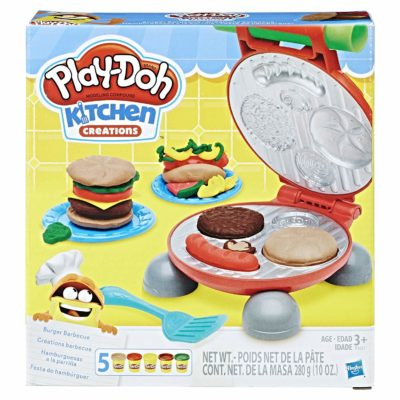 This is an image of a burger barbecue maker doh playset.