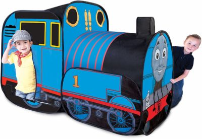 This is an image of two kids playing with a blue Thomas the train play tent.