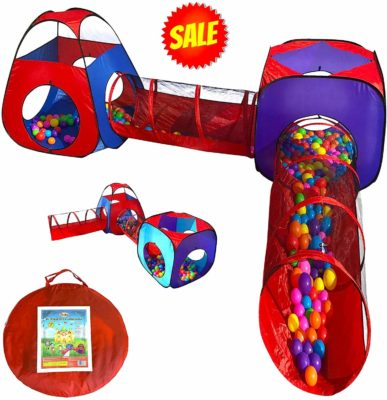 This is an image of a pop up tents, tunnel and playhouse pit ball by Playz.