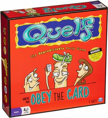 This is an image of a party board game called Quelf by Spin Master.
