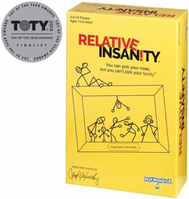 This is an image of a party game called Relative Insanity by Playmonster.