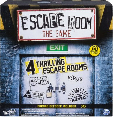 This is an image of a thrilling game called Escape Room by Spin Master Games.
