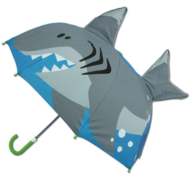 This is an image of a pop up shark kid's umbrella by Stephen Joseph.