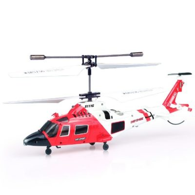 This is an image of a red Syma S111G RC helicopter toy for kids.