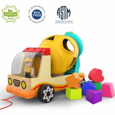 This is an image of a wooden shape sorter car by TOP BRIGHT.
