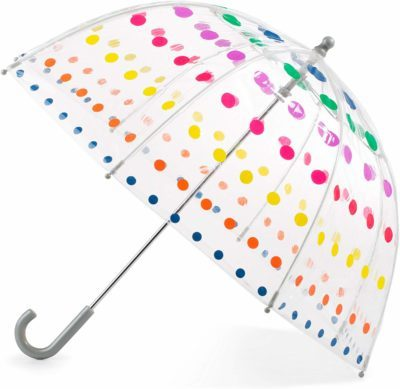 This is an image of a kid's clear bubble umbrella with colorful dots by Totes.