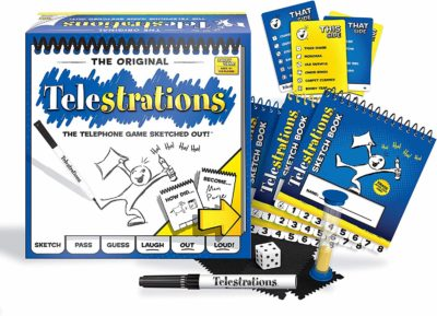 This is an image of a telephone game called Telestrations by USAOPOLY.