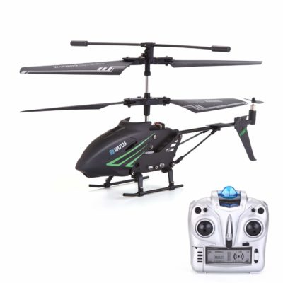 This is an image of a black mini rc helicopter by VATOS.