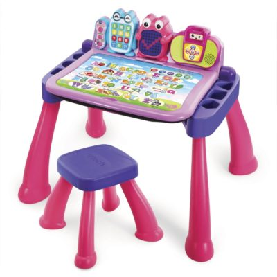 This is an image of a pink activity desk for little girls.