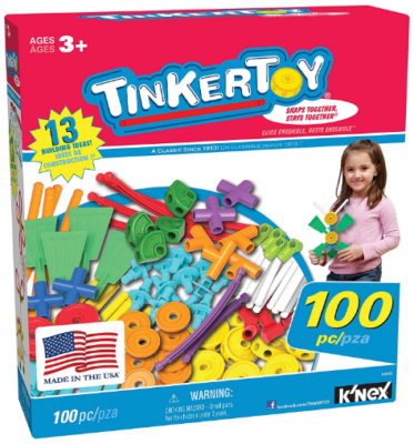 This is an image of kid's construction building set with 100 pieces by Thinker toy