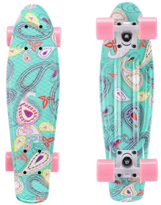 This is an image of kid's skateboard mini cruiser 22 inch in colorful colors