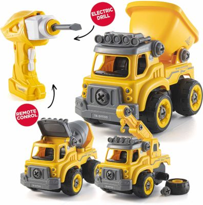 This is an image of a yellow electric drill and remote control construction trucks.