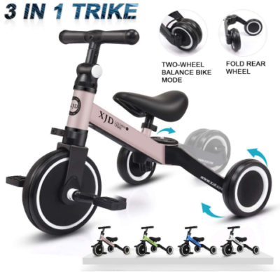 This is an image of toddler's 3 wheels toddler bike in black and pink colors