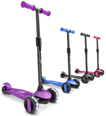 This is an image of kid's 3 kick scooter with 3 wheels in Purple color