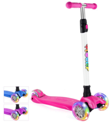 This is an image of kid's kick scooter with 3 wheels in pink color