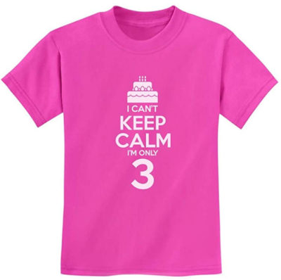 This is an image girl's 3 yeaar old birthday t shirt in pink color