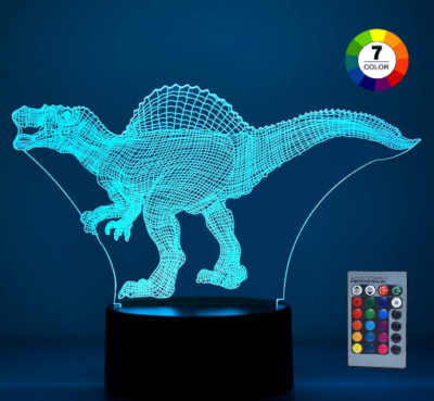 This is an image of boy's 3D dinosaur LED night light in blue color