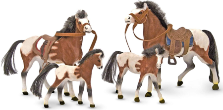 This is an image of kid's 4 figurine horses family in brown color