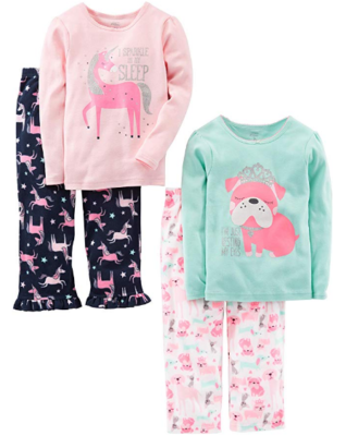 This is an image of girl's 4 pieces pajama set in colorful colors
