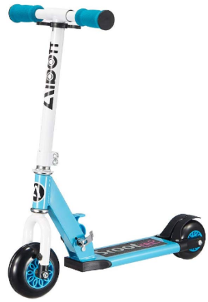 This is an image of kid's 4 wheel scooter in blue and white color