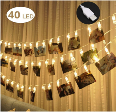 This is an image of girl's 40 LED photo clip lights