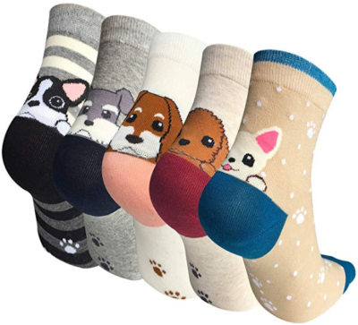This is an image of girl's 5 pairs socks in colorful colors